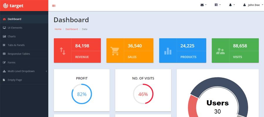Target plantilla gratis bootstrap de administraci n for Free website planning tool